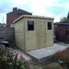 Budget Pent Roof Shed with 12mm Cladding & AirTech Base